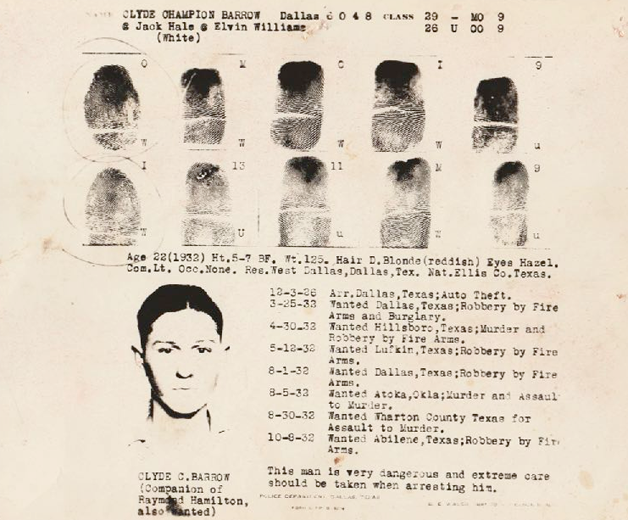 Ficha policial de Clyde