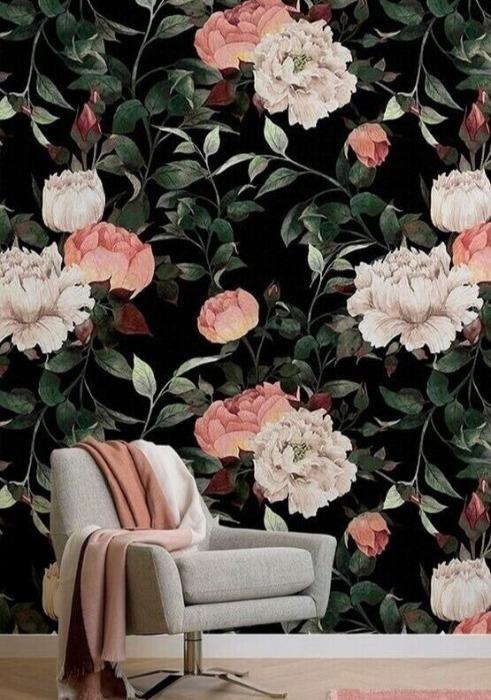 Papel de parede floral decorações escuras