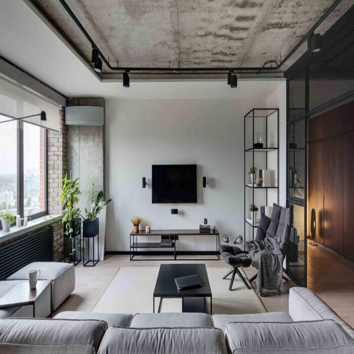 Sala de estar com decoração industrial