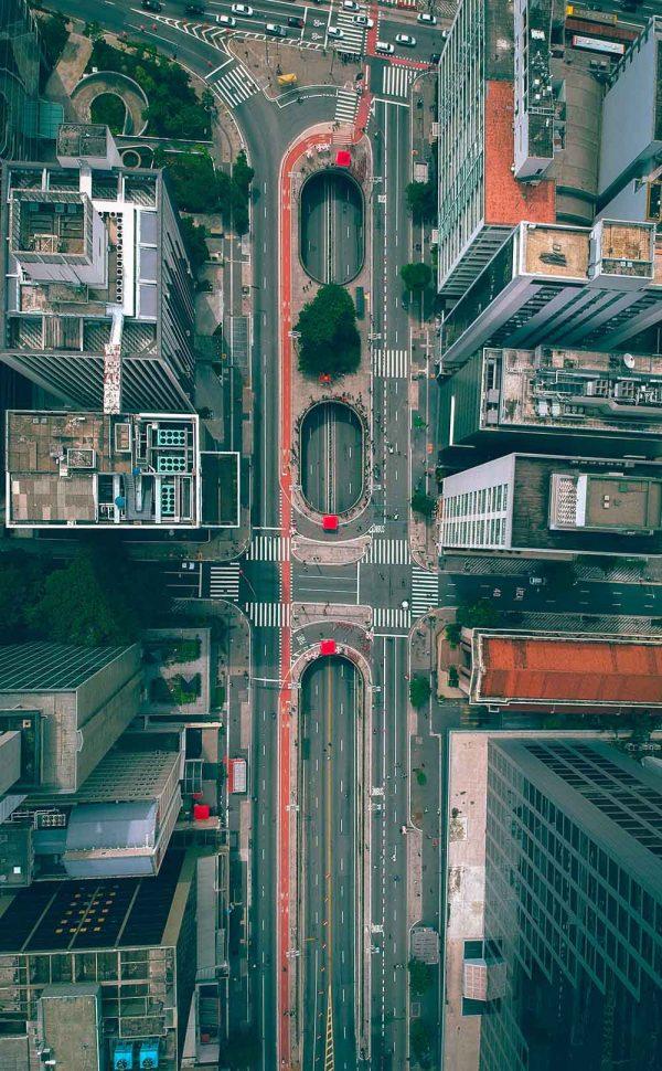 Vista aérea da Praça do Ciclista, avenida Paulista, São Paulo - Gabriel Ramos